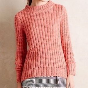 ANTHROPOLOGIE FIELD FLOWER | CORAL WAFFLE SWEATER